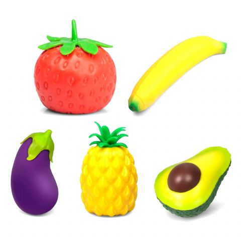 Assorted Stress Fruit & Veg Toys Soft Squishy Tobar